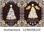 greeting vintage xmas cards... | Shutterstock .eps vector #1238358133