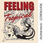 feeling tropical. vector hand... | Shutterstock .eps vector #1238361436