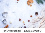 white knitted scarf and... | Shutterstock . vector #1238369050
