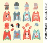vector collection of knitted... | Shutterstock .eps vector #1238371210