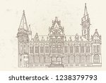 old post palace  front view ... | Shutterstock .eps vector #1238379793
