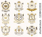 heraldic vector signs decorated ... | Shutterstock .eps vector #1238413333