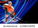 the female hockey player in... | Shutterstock . vector #1238414050