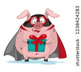 cartoon funny pig superhero | Shutterstock .eps vector #1238424283
