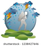hiker man walking through... | Shutterstock .eps vector #1238427646