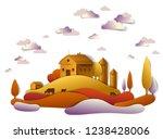 farm in scenic autumn landscape ...   Shutterstock .eps vector #1238428006