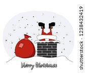 santa claus climbs into the...   Shutterstock .eps vector #1238432419