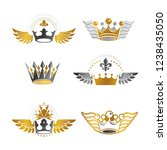 majestic crowns and ancient... | Shutterstock .eps vector #1238435050