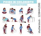 poses in childbirth. birth... | Shutterstock .eps vector #1238441500
