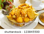 seafood basket with crumbed... | Shutterstock . vector #123845500