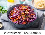 red cabbage salad  coleslaw in... | Shutterstock . vector #1238458009