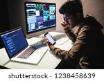 indian man programmers testing... | Shutterstock . vector #1238458639