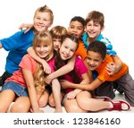 Group Happy Smiling Kids Sitting - Fine Art prints