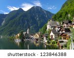 austrian lakeside village of... | Shutterstock . vector #123846388