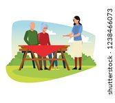 family barbecue picnic | Shutterstock .eps vector #1238466073