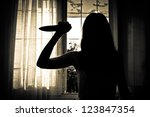 Horror Scene of a Woman - stock photo