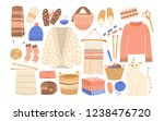 collection of winter knitted... | Shutterstock . vector #1238476720