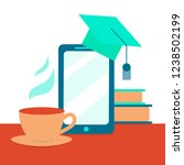 e learning concept with a phone ... | Shutterstock .eps vector #1238502199