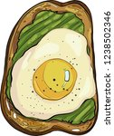 toast with avocado and egg ... | Shutterstock .eps vector #1238502346
