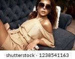 beautiful cute girl lying on a...   Shutterstock . vector #1238541163