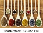 Colorful Spices In Wooden...