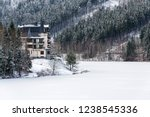 solitary hotel building in a...   Shutterstock . vector #1238545336
