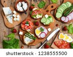 set of healthy whole wheat... | Shutterstock . vector #1238555500