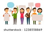 crowd of people protesting.... | Shutterstock .eps vector #1238558869