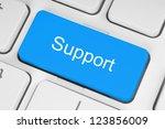 blue support keyboard button | Shutterstock . vector #123856009
