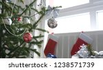 stylish decorated fir trees by...   Shutterstock . vector #1238571739