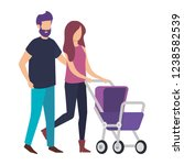 parents couple with cart baby... | Shutterstock .eps vector #1238582539
