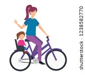 young mother in bicycle with... | Shutterstock .eps vector #1238582770