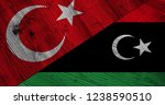 flag of libya and turkey on... | Shutterstock . vector #1238590510