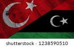 flag of libya and turkey on... | Shutterstock . vector #1238590510