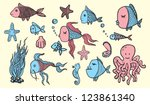 colored fish sketches   Shutterstock .eps vector #123861340