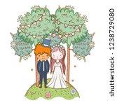 wedding couple cute cartoon | Shutterstock .eps vector #1238729080
