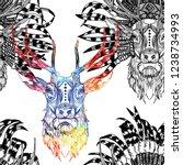 seamless pattern deer with... | Shutterstock .eps vector #1238734993