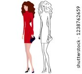 fashionable girl in red  dress... | Shutterstock .eps vector #1238762659