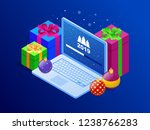 isometric happy new 2019 year... | Shutterstock .eps vector #1238766283