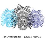 dog with an ethnic headdress.... | Shutterstock .eps vector #1238770933
