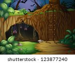 illustration of a cave and bats ... | Shutterstock .eps vector #123877240