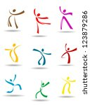 dancing peoples pictograms for... | Shutterstock . vector #123879286