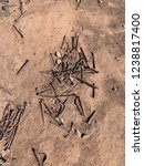 scattered rusty nails on dirt... | Shutterstock . vector #1238817400