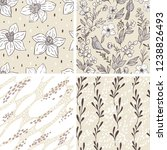 set with floral seamless... | Shutterstock .eps vector #1238826493