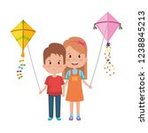 kids couple with kite flying | Shutterstock .eps vector #1238845213