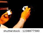car polish wax worker hands... | Shutterstock . vector #1238877580