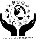 world religious symbols with... | Shutterstock .eps vector #1238892826