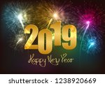 happy new year 2019 fireworks...   Shutterstock .eps vector #1238920669