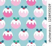 seamless cute christmas pudding ...   Shutterstock .eps vector #1238935039