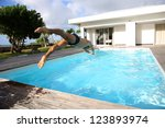 Man Diving In Private Swimming...